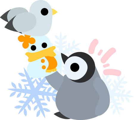gull: A pretty baby penguin and a gull and a doll of snowman Illustration
