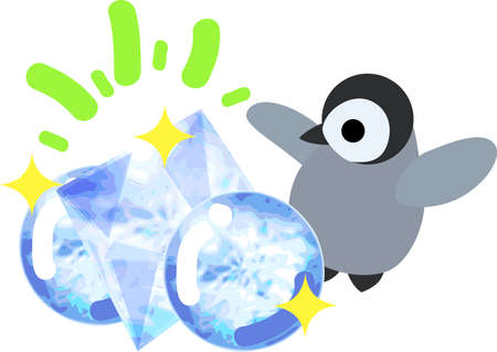 jewels: A pretty baby penguin and ice jewels Illustration