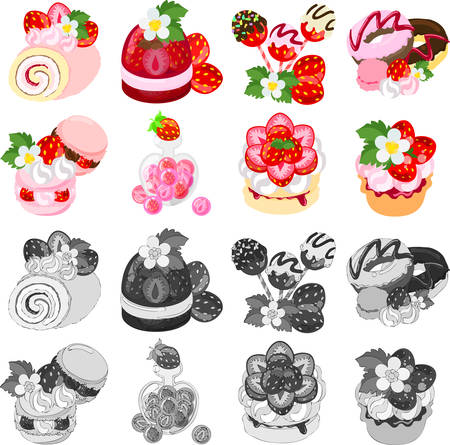 tart: Roll cake and jelly and chocolate and doughnut and macaroon and candy and cake and tart of strawberry