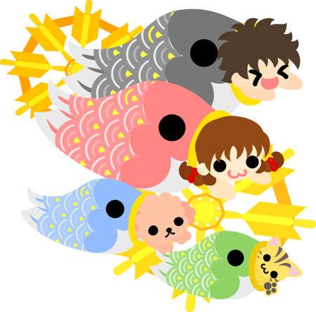 streamer: A carp streamer and children Illustration