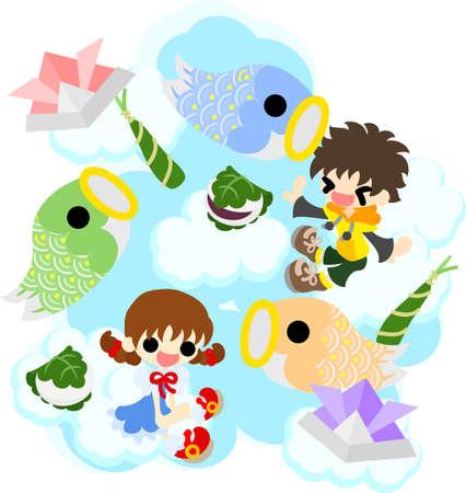streamer: Children and carp streamer Illustration