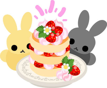 appetizing: Pretty rabbits and an appetizing cake Illustration