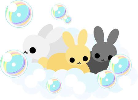 take a bath: The pretty rabbits which take a bath