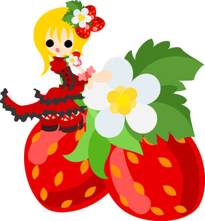 sat: Girl in the bright red dress which sat on a big strawberry