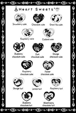 postcard: The postcard of various heart sweets