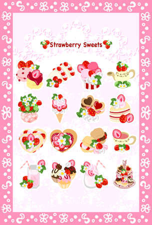 scone: The postcard of various strawberry sweets Illustration