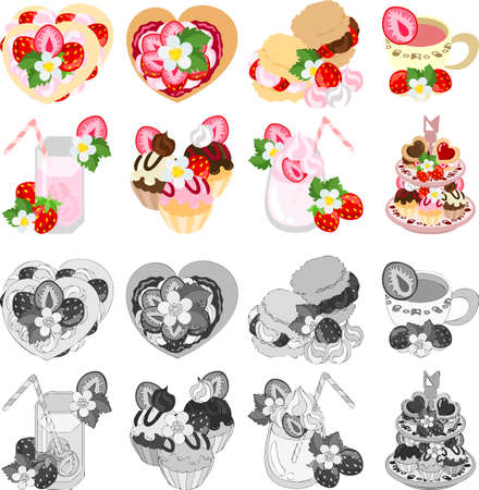 teacup: Cake and tart and cream puff and teacup and juice and cupcake and smoothie and afternoon tea of strawberry Illustration
