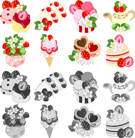 scone: Scone and fruit sand and ice cream and tea and cookie flowerpot and sand and mil crepe, of strawberry
