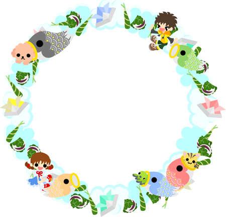 streamer: Wreath of children and carp streamer