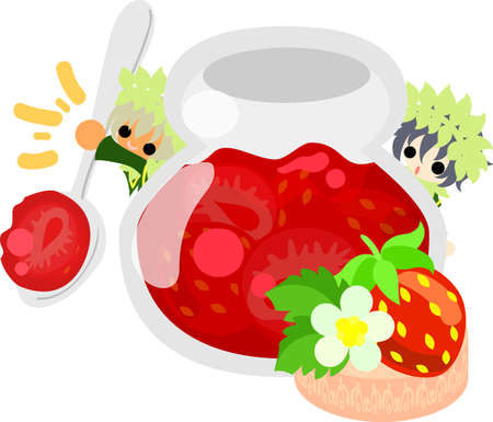 strawberry jam: A big strawberry jam and little people Illustration