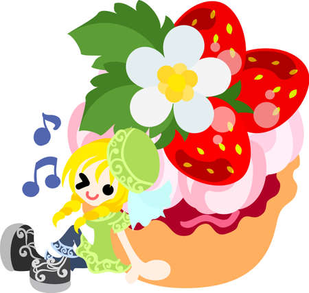 tart: A big strawberry tart and a smiling girl Illustration