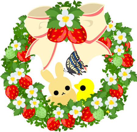butterfly rabbit: A beautiful strawberry wreath and a pretty rabbit and little bird and butterfly Illustration