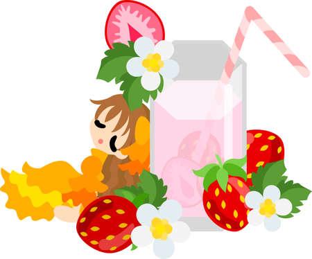 woman drinking milk: Big strawberry milk and a  girl