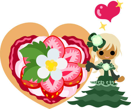 tart: Big strawberry tart and a smiling girl Illustration
