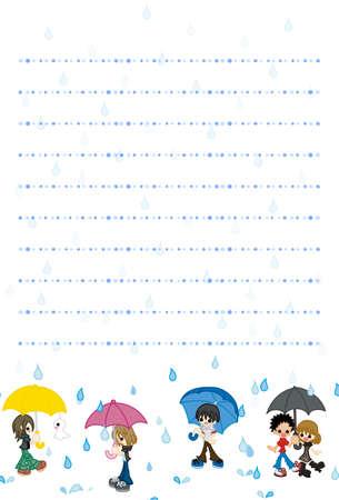 papier a lettre: Il est la lettre de carte postale papier imagé moment de la saison des pluies.