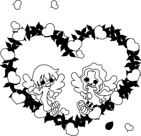 colorful heart: Two pretty angels and the colorful heart wreath.