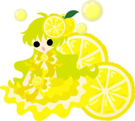 The illustration of the girl in the grapefruit dress Illustration
