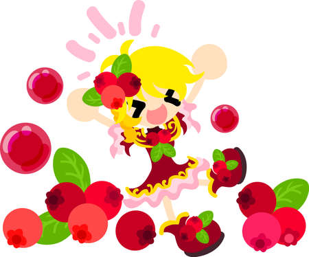cranberry illustration: The illustration of the girl in the cranberry dress