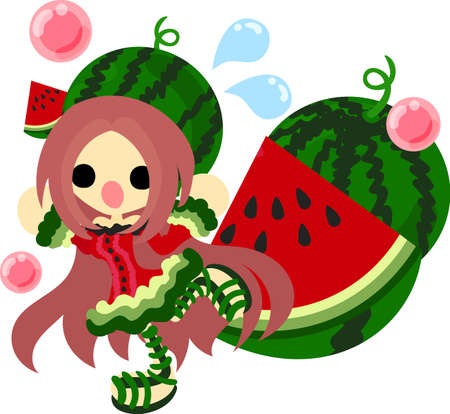 watermelon woman: The illustration of the girl in the watermelon dress