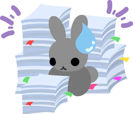 perplexity: The pretty little rabbit  which does the figure of the office worker Illustration