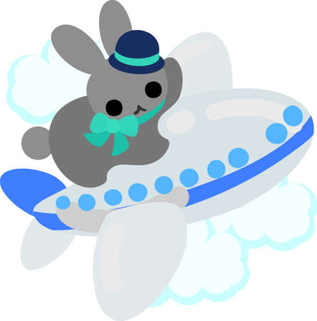 cabin attendant: The rabbit which does the figure of the cabin attendant Illustration