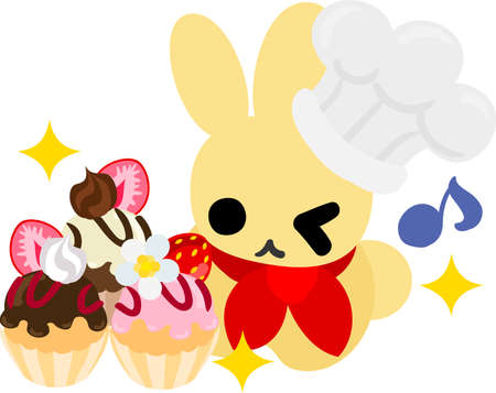 pastry chef: The rabbit which does the figure of the Pastry chef Illustration