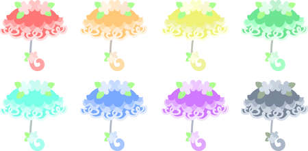 The various cute icons of umbrella