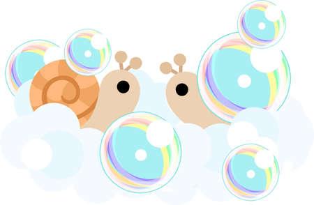 caracol: caracoles bonitas en el momento del baño