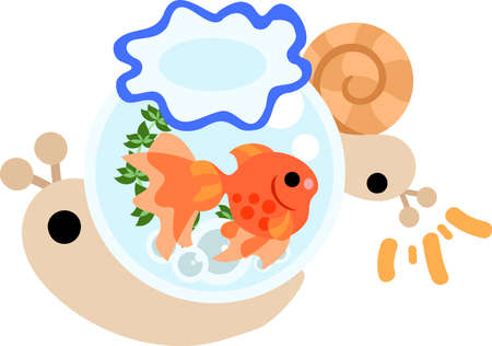 think tank: My original illustration of pretty snails and a goldfish