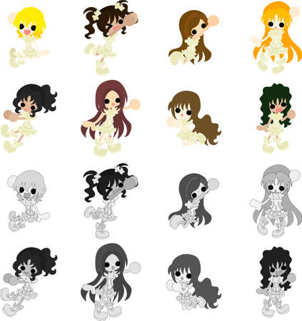 white dress: The icons of girls in white dress Illustration