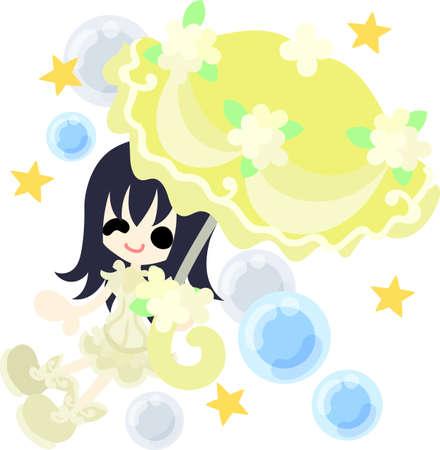 The cute girl with a yellow stylish umbrella  イラスト・ベクター素材