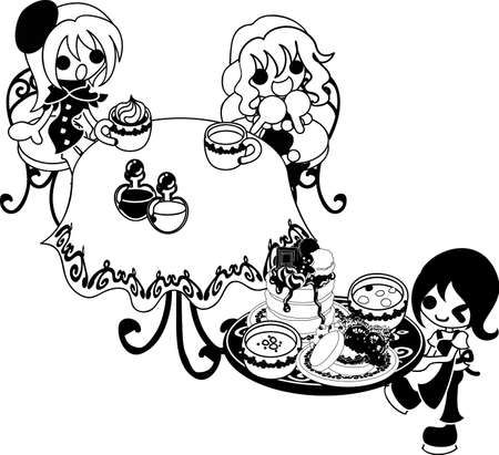 pleased: Two girls are pleased with the pancakes which they were waiting Illustration