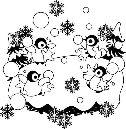 snowball: The baby penguins which are idle by a snowball fight happily together.