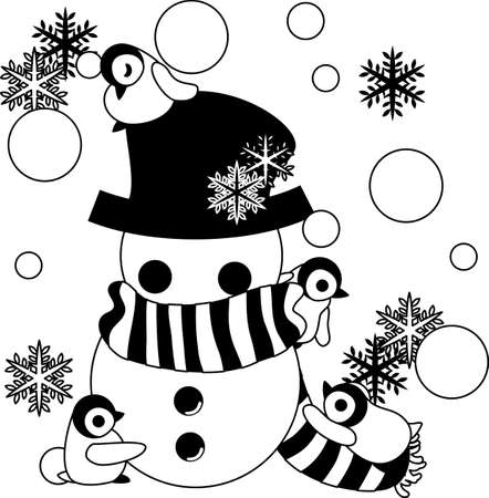 Baby penguins are making the big snowman winding um a muffler and covered a hat.