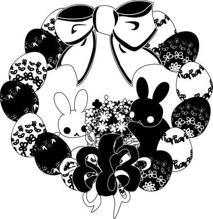 イースターエッグとウサギの花輪。  イラスト・ベクター素材