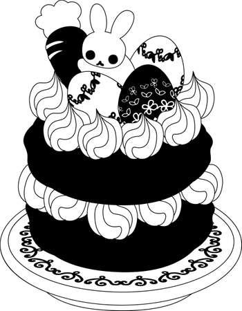 イースターエッグとウサギのケーキ。
