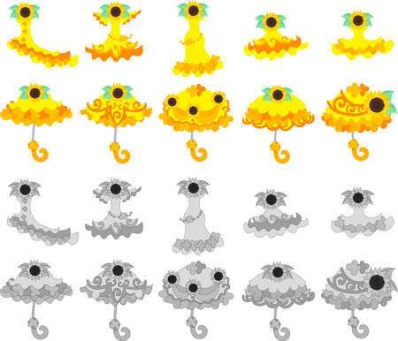 parasol: The icons of sunflower dress and parasol Illustration