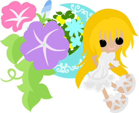 glory: A cute girl and a object of morning glory