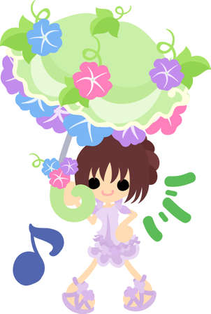 parasol: A cute girl and a parasol of morning glory