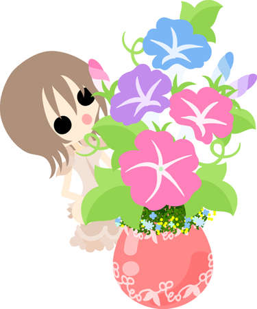 glory: A cute girl and a flower pot of morning glory