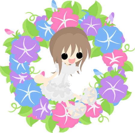 glory: A cute girl and a wreath of morning glory Illustration