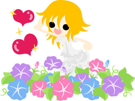 glory: A cute girl and flower garden of morning glory Illustration