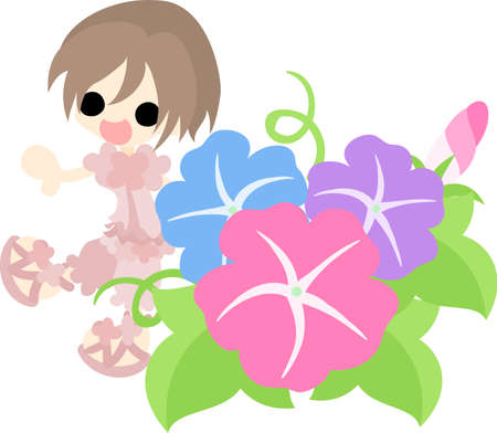 morning glory: A cute girl and morning glory
