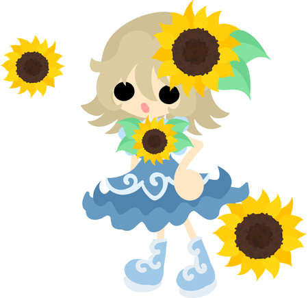 accessory: A cute little girl and a accessory of sunflower