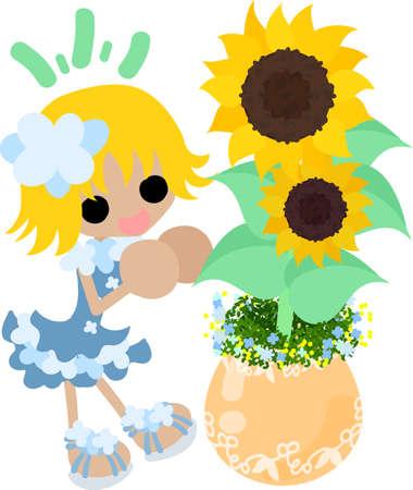 かわいい女の子とヒマワリの植木鉢  イラスト・ベクター素材