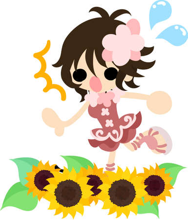 sunflower field: A cute little girl and a flower field of sunflower Illustration