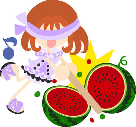 splitting: Summer memories and watermelon splitting game Illustration