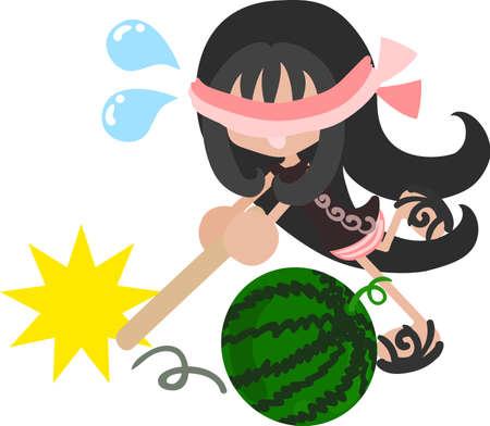 watermelon woman: Summer memories and watermelon splitting game Illustration