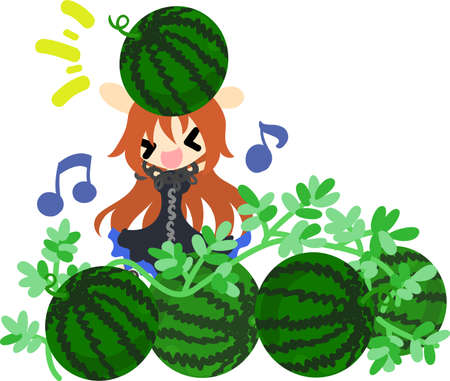 watermelon woman: Summer memories and watermelon field Illustration