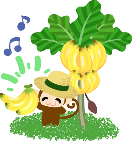 personification: The pretty little monkey and a banana tree